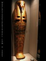 Egyptian coffin with clear face on the front